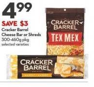 Cracker Barrel Cheese Bar or Shreds 300-460g Pkg