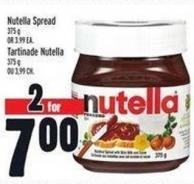 Nutella Spread 375 g Or 3.99 Ea.