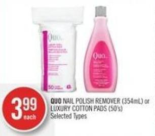 Quo Nail Polish Remover (354ml) or Luxury Cotton Pads (50's)