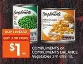 Compliments or Compliments Balance Vegetables 341-398 mL