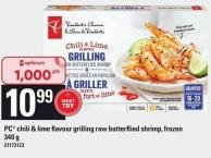 PC Chili & Lime Flavour Grilling Raw Butterflied Shrimp - 340 g
