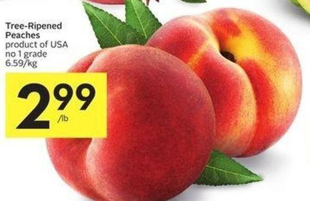 Tree-ripened Peaches Product of USA No 1 Grade $6.59/kg