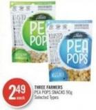 Three Farmers Pea Pops Snacks 90g