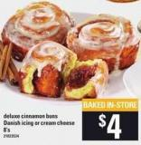 Deluxe Cinnamon Buns Danish Icing Or Cream Cheese 8's