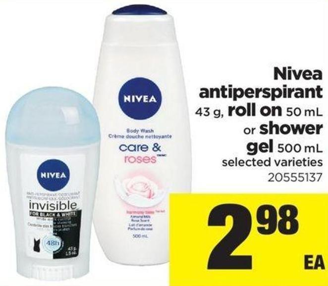 Nivea Antiperspirant 43 G - Roll On 50 Ml Or Shower Gel 500 Ml