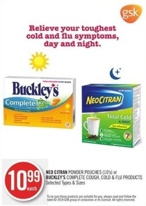 Neo Citran Powder Pouches (10's) or Buckley's Complete Cough - Cold & Flu Products
