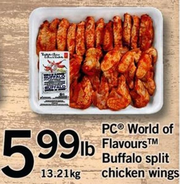 PC World Of Flavours Buffalo Split Chicken Wings - 13.21kg