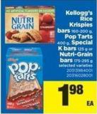 Kellogg's Rice Krispies Bars - 160-200 G - Pop-tarts - 400 G - Special K Bars - 125 G Or Nutri-grain Bars - 175-295 G