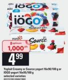 Yoplait Creamy Or Source Yogurt - 16x90/100 G Or IOGO Yogurt - 16x95/100 G