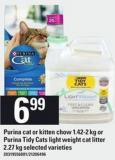 Purina Cat Or Kitten Chow 1.42-2 Kg Or Purina Tidy Cats Light Weight Cat Litter 2.27 Kg