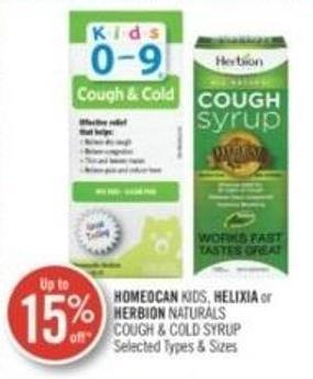 Homeocan Kids - Helixia or Herbion Naturals Cough & Cold Syrup