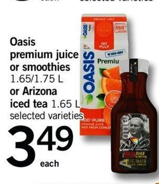 Oasis Premium Juice Or Smoothies - 1.65/1.75 L Or Arizona Iced Tea - 1.65 L