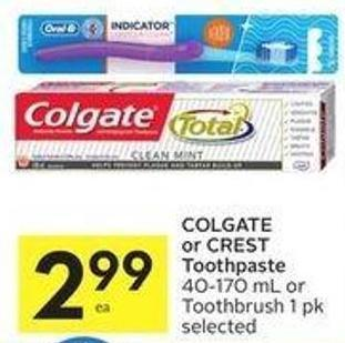 Colgate or Crest Toothpaste
