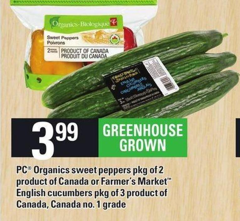 PC Organics Sweet Peppers Pkg Of 2 Product Of Canada Or Farmer's Market English Cucumbers - Pkg Of 3
