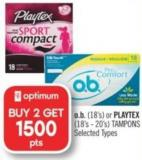 O.b. (18's) or Playtex (18's - 20's) Tampons