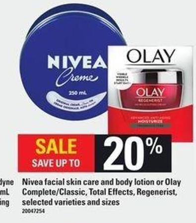 Nivea Facial Skin Care And Body Lotion Or Olay Complete/classic - Total Effects - Regenerist