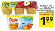 Dole Fruit Cups Or Pouches Or Pineapple Juice Or Mott's Fruitsations