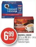 Maxwell House (12's) or PC (8's - 14's) Coffee PODS
