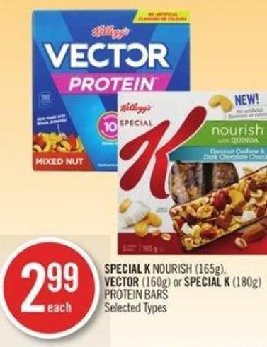 Special K Nourish (165g) - Vector (160g) or Special K (180g) Protein Bars