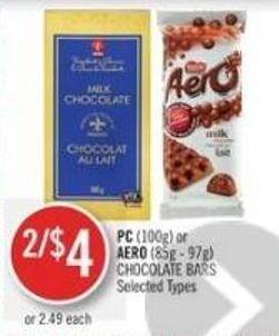 PC (100g) or Aero (85g - 97g) Chocolate Bars