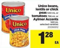 Unico Beans - Lentils Or Chick Peas - 540 Ml Or Tomatoes - 796 Ml Or Aylmer Accents - 540 Ml