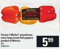 Farmer's Market Greenhouse Extra Large Sweet Bell Peppers - 3's