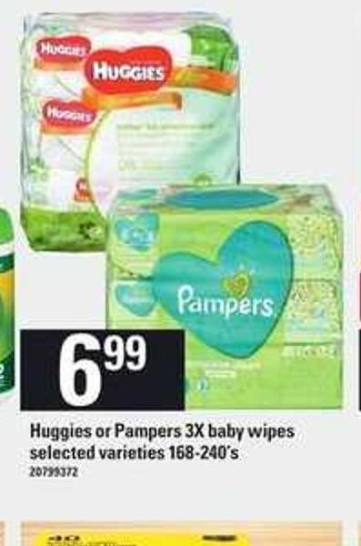 Huggies Or Pampers 3x Baby Wipes - 168-240's