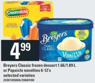 Breyers Classic Frozen Dessert 1.66/1.89 L Or Popsicle Novelties 6-12's