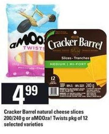Cracker Barrel Natural Cheese Slices - 200/240 g Or Amooza! Twists - Pkg of 12