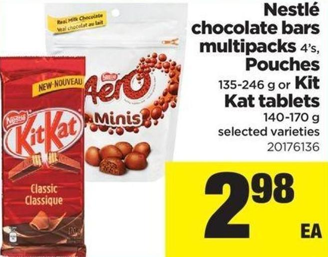 Nestlé Chocolate Bars Multipacks - 4's - Pouches - 135-246 g or Kit Kat Tablets - 140-170 g
