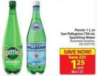 Perrier 1 L or San Pellegrino 750 mL Sparkling Water