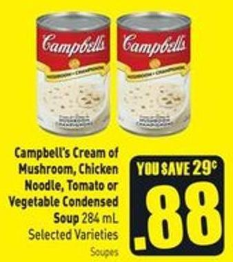 Campbell's Cream of Mushroom - Chicken Noodle - Tomato or Vegetable Condensed Soup 284 mL