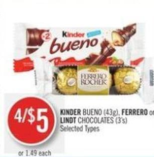Kinder Bueno (43g) - Ferrero or Lindt Chocolates (3's)