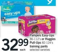 Pampers Easy-ups - 86-112's Or Huggies Pull-ups - 82-124's Training Pants
