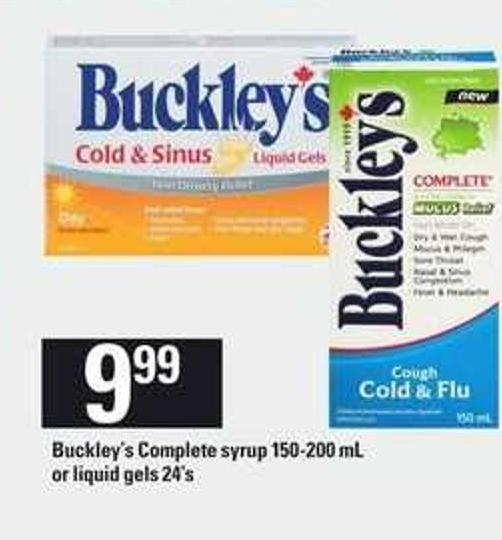 Buckley's Complete Syrup 150-200 Ml Or Liquid Gels 24's