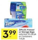 Ziploc Freezer or Storage Bags Selected 10-28 Pk or Containers 1-8 Pk