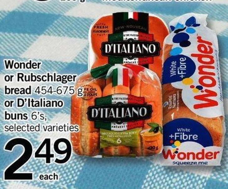 Wonder Or Rubschlager Bread 454-675 G Or D'italiano Buns 6's