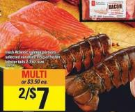 Fresh Atlantic Salmon Portions - 113 G Or Frozen Lobster Tails 2-3 Oz. Size