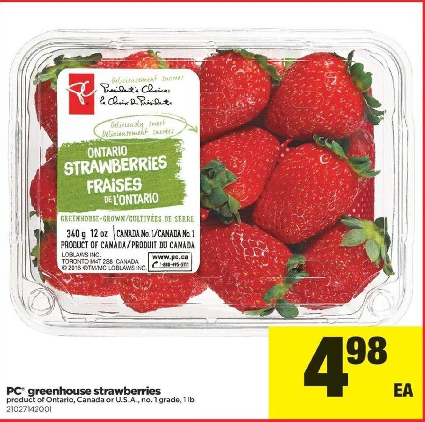 PC Greenhouse Strawberries - 1 Lb
