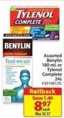 Assorted Benylin 180 mL or Tylenol Complete 24s