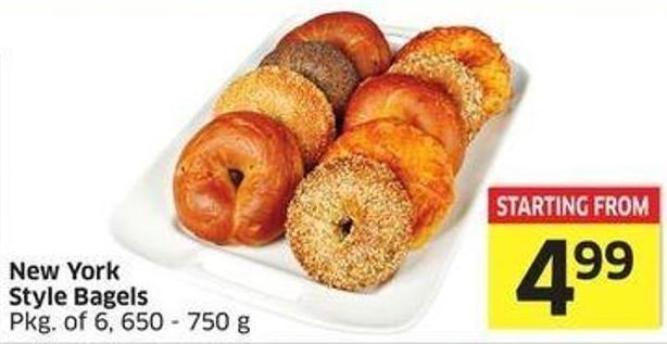 New York Style Bagels Pkg of 6 - 650 - 750 g