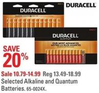 Duracell Selected Alkaline and Quantum Batteries