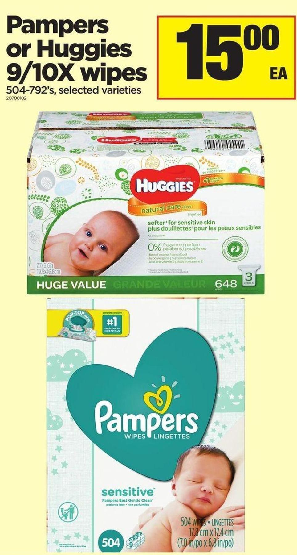 Pampers Or Huggies 9/10x Wipes - 504-792's