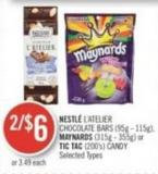 Nestlé L'atelier Chocolate Bars (95g - 115g) - Maynards (315g - 355g) or Tic Tac (200's) Candy