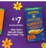 Select Annie's Made With Organic Mac N Cheese - 170g