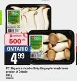 PC Organics Sliced Or Baby King Oyster Mushrooms - 200 g