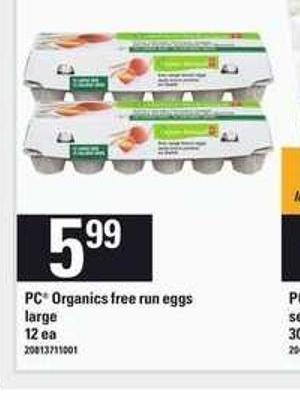 PC Organics Free Run Eggs - 12 Ea