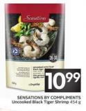 Sensations By Compliments Uncooked Black Tiger Shrimp 454 g