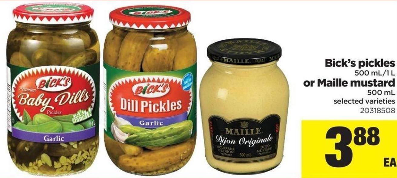 Bick's Pickles - 500 Ml-1 L Or Maille Mustard - 500 Ml