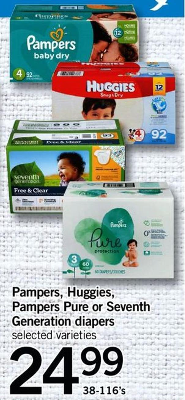 Pampers - Huggies - Pampers Pure Or Seventh Generation Diapers - 38-116's
